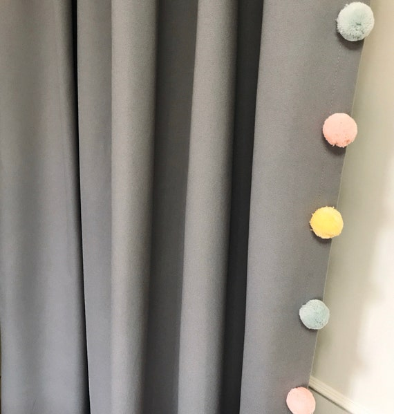 "Grey Curtain with Adorable Multi Coloured Pom Poms. Curtain Drapery Panel. Kids Curtains. Baby Rooms, 64"" 84"" 90"" 96"" Long by 55"" Wide."