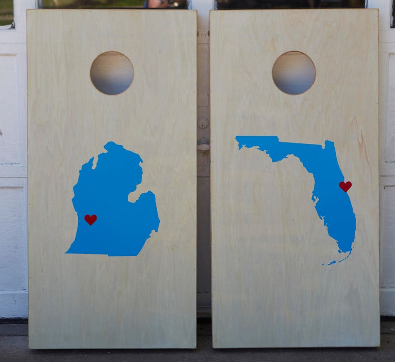Custom Cornhole Boards ONLY  Bean Bag Toss  Home State  image 0