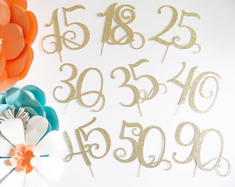 18 Cake Topper Glitter Party Decorations For Adult Girl Boy Anniversary 18th Birthday Her Him Age Number And Pick Color