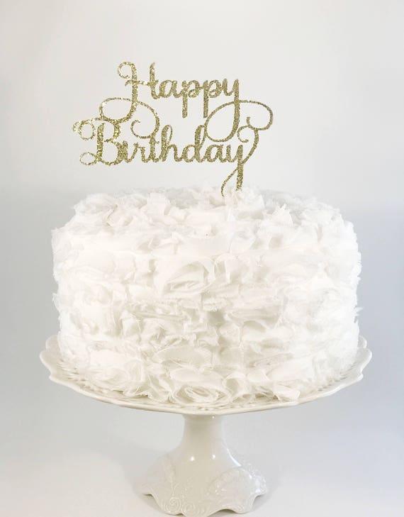 Happy Birthday Cake Topper Glitter Party Decorations Mom Etsy