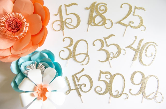 90 Cake Topper Ninety Years Party Decorations Adult Birthday 90th Anniversary Milestone Occasion Wedding Couple