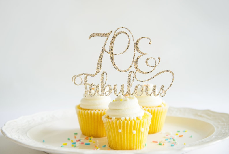 70 Fabulous Cake Topper Glitter Card Stock Party