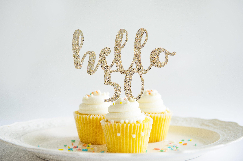 Hello 50 Happy Birthday Cake Topper Glitter Party Decorations