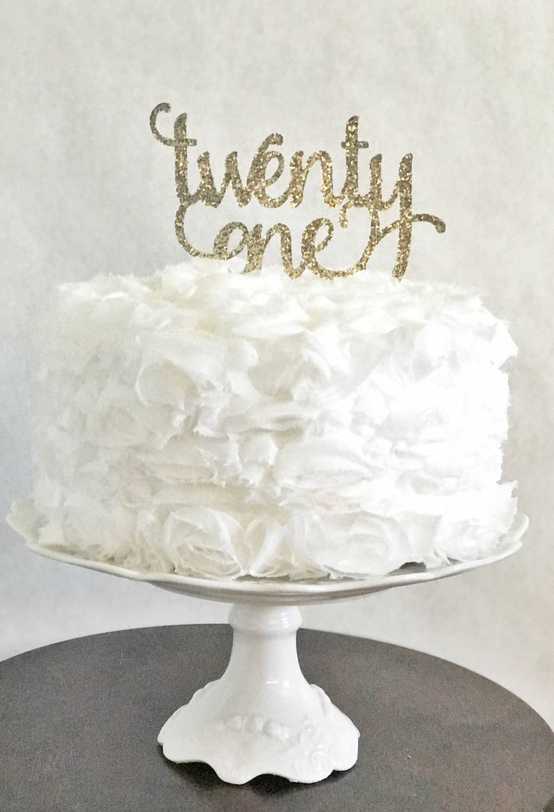 Twenty One Cake Topper Glitter Party Decorations Adult