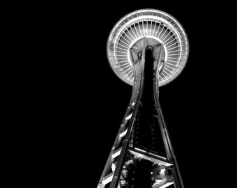 Space Needle Wrapped Canvas Photograph   Seattle Washington   Home Decor   Photography   Black and White Photography   Space Needle  