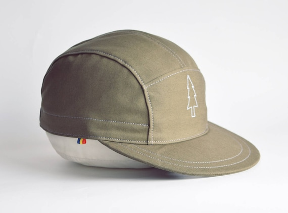 Embroidered 5 panel hat Pine tree embroidery Khaki hat  0bdccbe5644