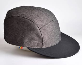 Grey snapback hat with black brim, Cotton 5 panel hat, Black brim baseball cap, Snap back cap, Grey 5 panel