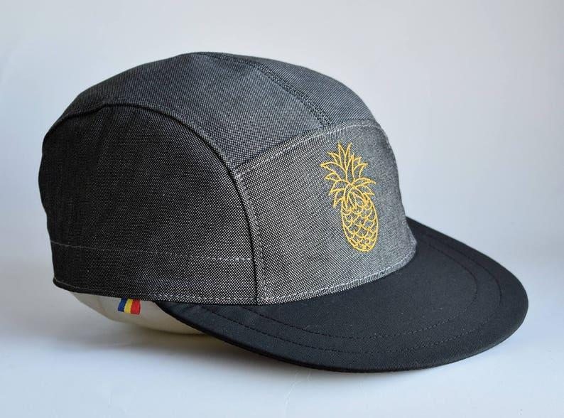 ac7a7d393cb4f6 Grey snapback hat 5 Panel Hat Pineapple Cap Heavy cotton   Etsy