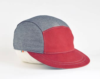 Grey and burgundy snapback hat, Cotton 5 panel hat, Snap back cap, Grey 5 panel