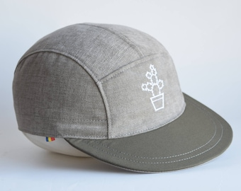 Cactus embroidered cap, Grey snapback hat, Cotton 5 panel hat, Snap back cap, Grey 5 panel, Kaki brim