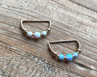 Pair-White/light blue fire opal Nipple rings jewelry-14k gold filled body jewellery-gift for her