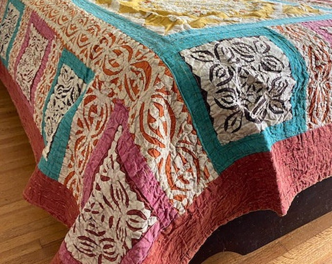 Featured listing image: Indian vintage  Bedspread, Cotton bed cover, patchwork throw, Wall Hanging
