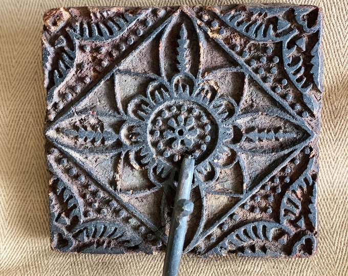 Featured listing image: Vintage wooden sari block print hooks, hooks, Batik Ink Block Wall Hook,  antique fabric stamp, wood stamps hooks, Indian Vintage stamps