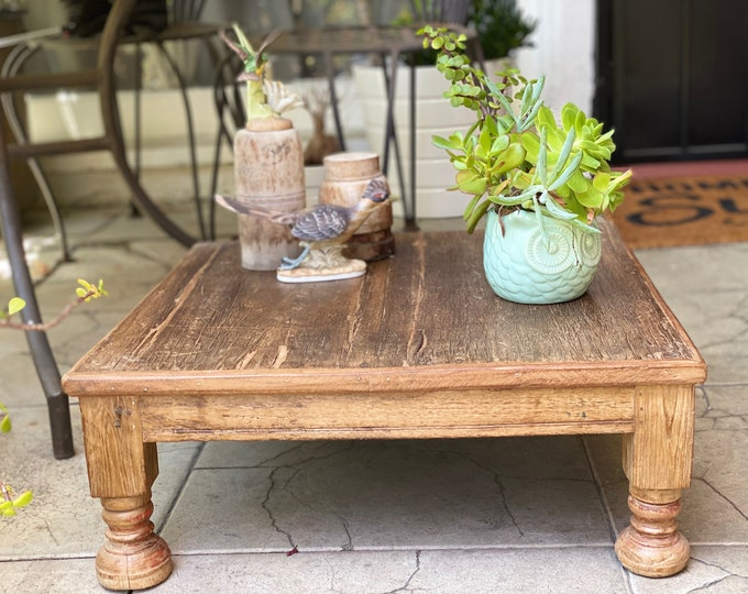 Featured listing image: Vintage blue Low Wooden Bajot, vintage low table, wooden decorative accent table or tray, Classic Indian Wooden Bajot table
