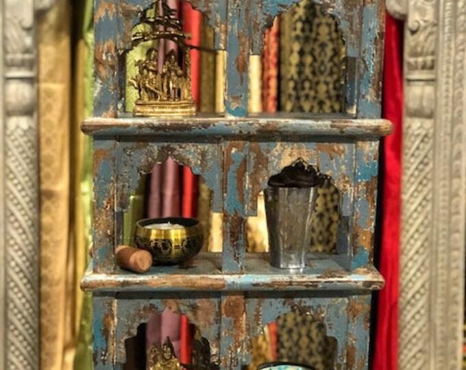 Featured listing image: Vintage Blue Hanging Wall shelf, display Shelf, Bedroom Shelf, Bathroom storage, Bathroom organizer, hanging shelf, rope shelf, Alter
