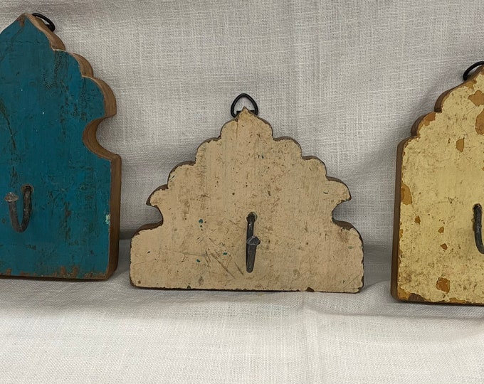 Featured listing image: Wooden Wall Hook Rack, set of 3 hooks, Architectural Salvage Wood Coat Rack Entryway, Indian Decor Rustic Wall Hook, Bohemian Decoration