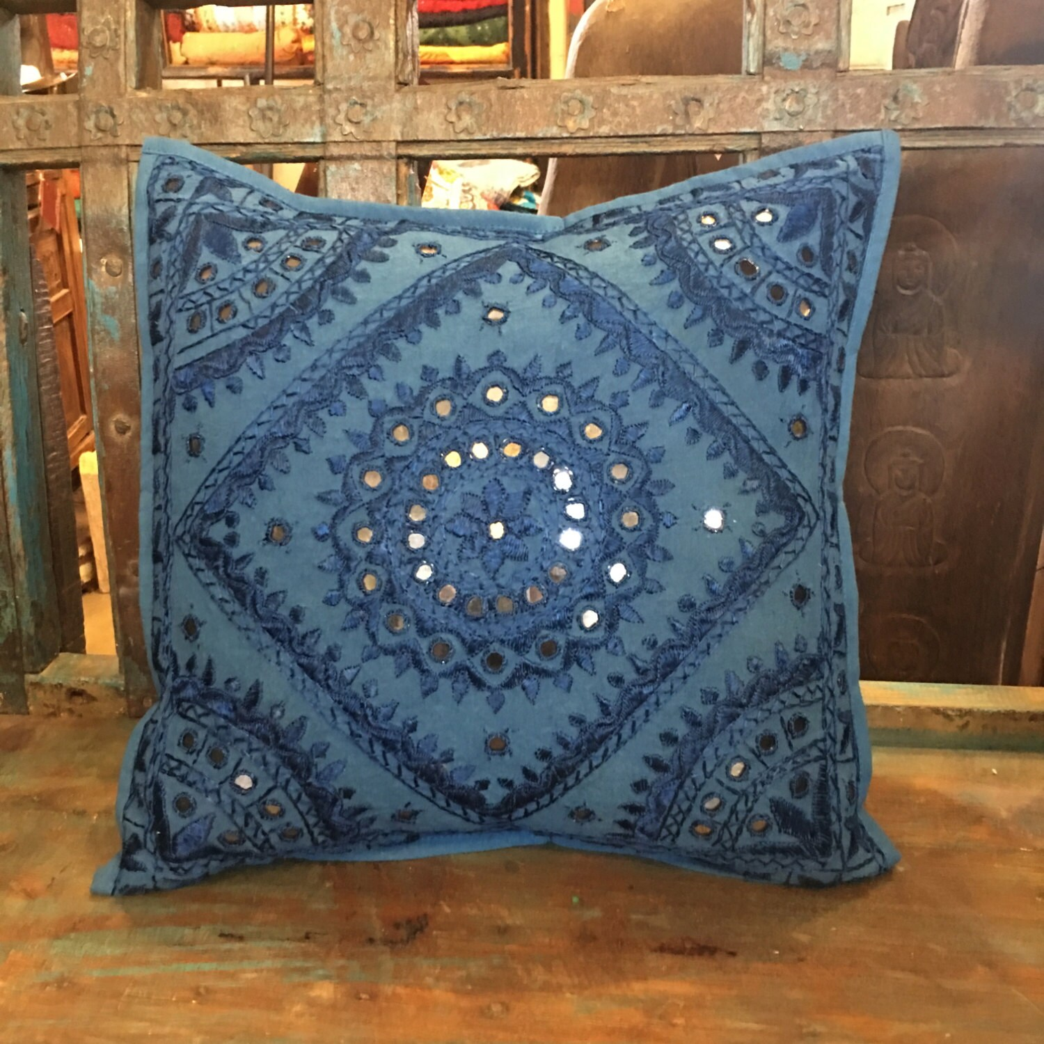Moroccan Style Floor Pillows, Decorative Throw Pillow Covers, Blue Mirror