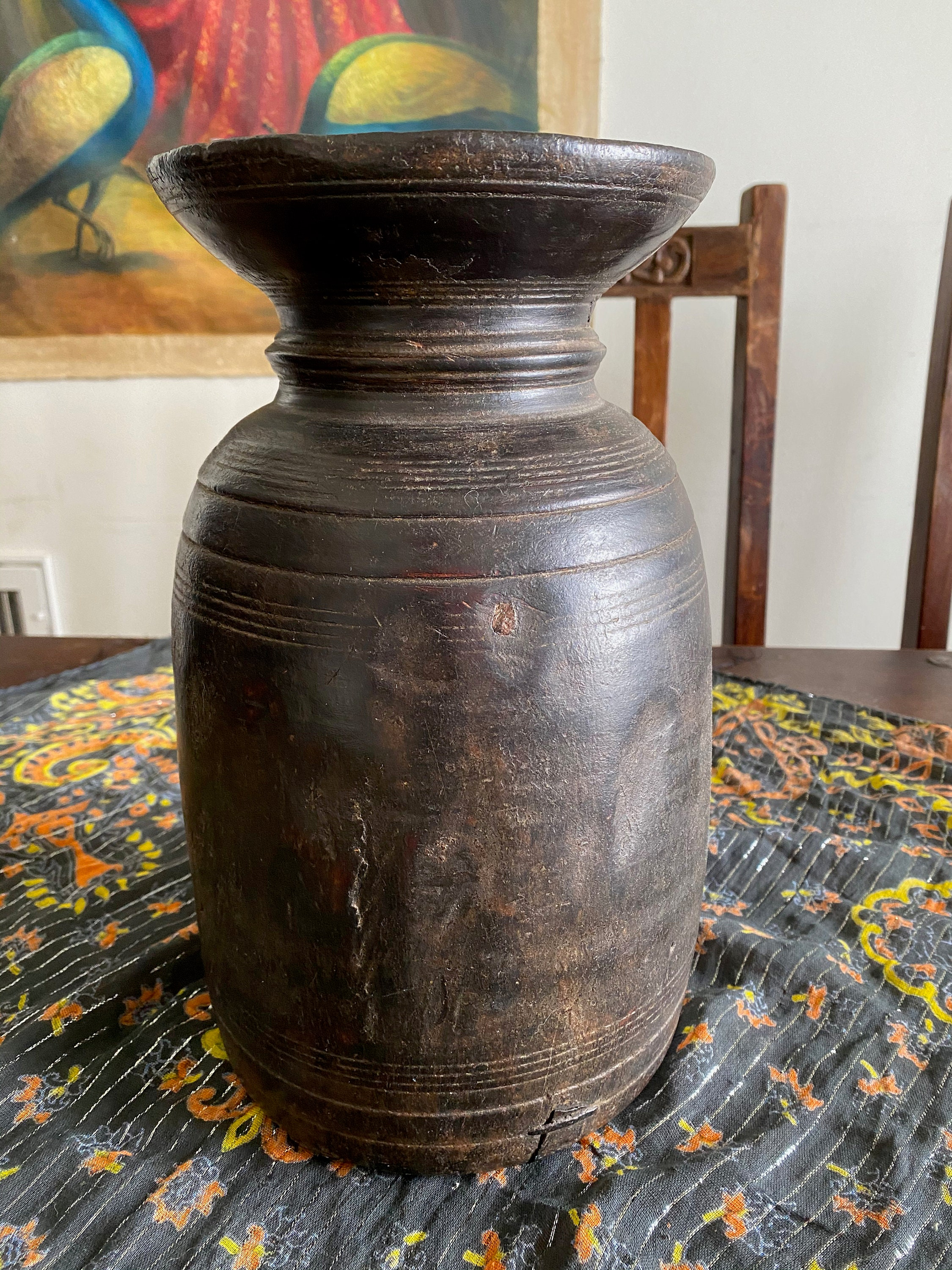 Indian Tribal Wooden Planter Decorative Pot Rustic Wooden Bucket Wooden Planter Vintage Tall Pot Hand Carved Indian Planter