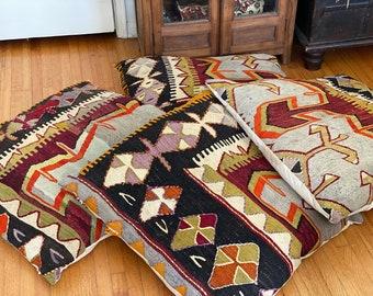Vintage Kilim Pillows from Turkish, Boho Pillow, Sofa Pillow,  kilim rugs, Pillow Home Decor, 24x24 Decorative Pillow cover