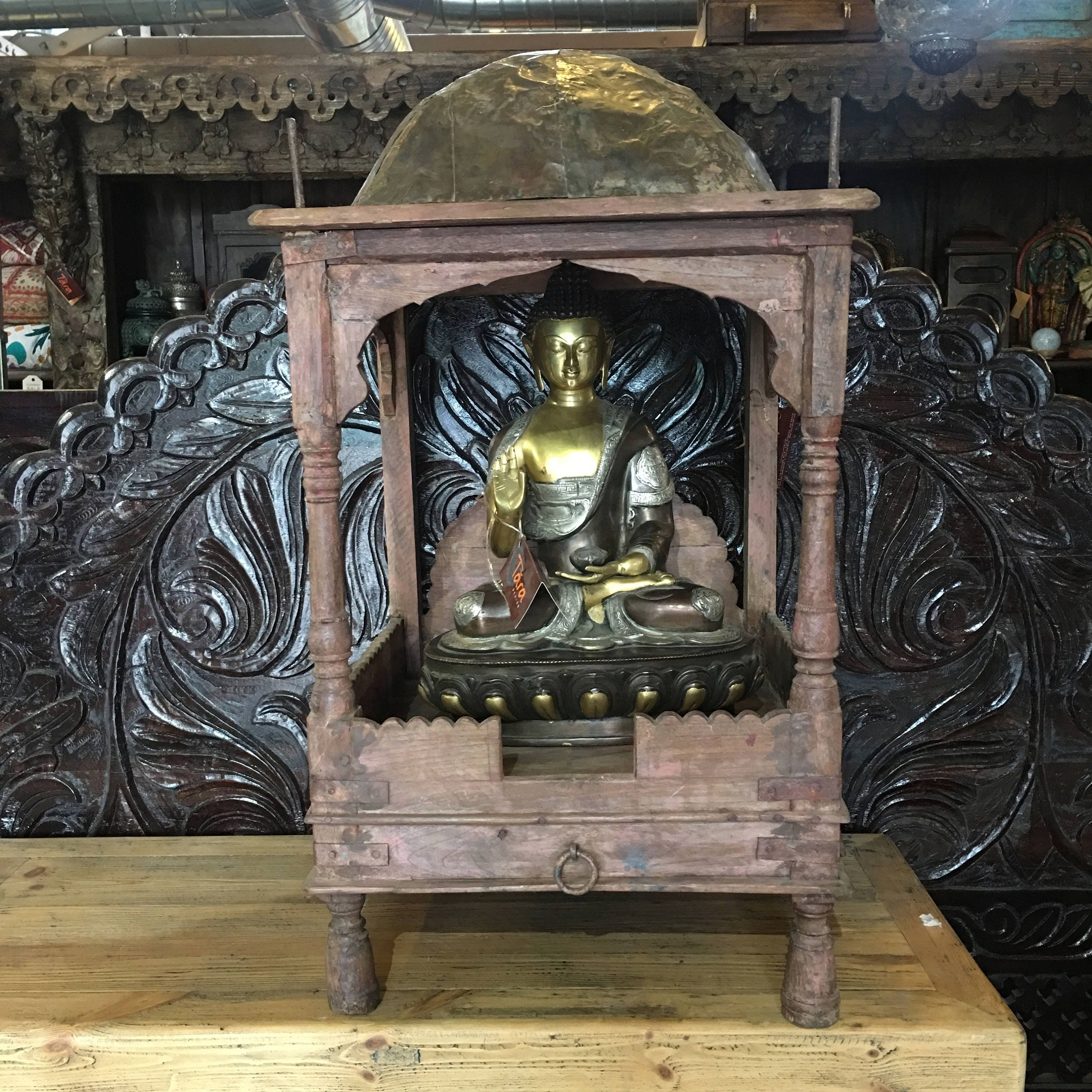 Indian Wooden Altar, Indian Wood Furniture, Altar, Display, Showcase,  Indian Altar Cabinet , Pooja, Temple, Indian Mandir