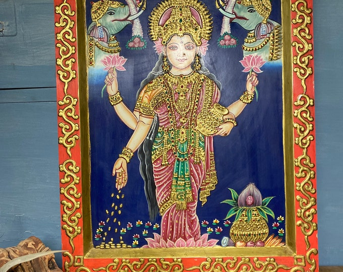 Featured listing image: Painting on Wood, Lakshmi, Painting, Well  Decor, Living room, Goddess