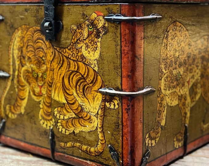 Featured listing image: Old Chinese tibet tiger box, Vintage hand painted wooden box, storage container,  box, home decor