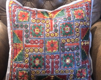 """Moroccan style pillows Covers, Decorative throw pillow covers, mirror work pillow cover, embroidered pillow cover, 16x16"""", daybed pillow"""