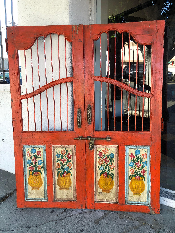 Orange Indian Ventage Gate Jali Doors Wall Decor