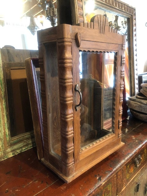 Vintage Brown Indian Glass Showcase, Wood And Glass Altar