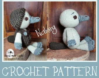 Amigurumi Crochet Pattern -Nakey Platypus, Cubby House Crochet. Removable clothing , PDF pattern, Instant download