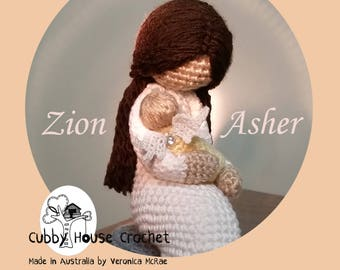 """Crochet Pattern """"Little Sparrow"""" Zion Asher. Mother sitting on a rock with her baby. Baby Angel Wings optional"""