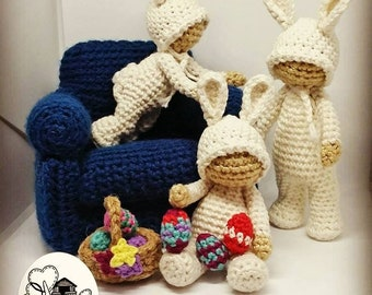 Crochet Pattern Package- 4x patterns. Includes a Free Mod Pattern to make them into Bunnies. Sitting, Crawling and Standing Toddlers