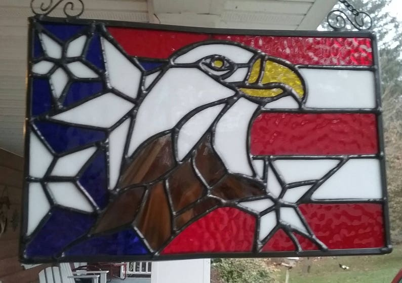 94ee2e82bc76 Stained glass sun catcher eagle and American Flag. Show
