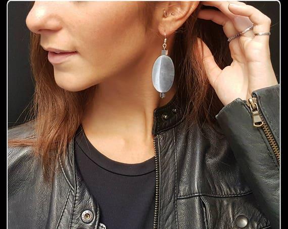 Silver Aluminum Earrings - OVAL - Elegant, Modern, Light - Gift Idea- Tenth Anniversary - Friend of the Heart - Teacher Gift