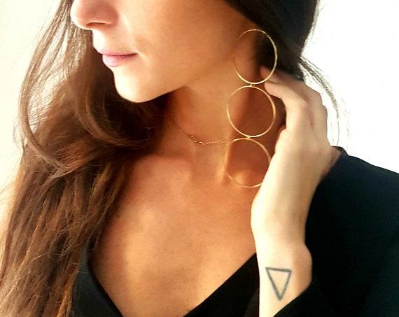 Long earrings, very light! In 24k gold gold brass, earrings with hoops.