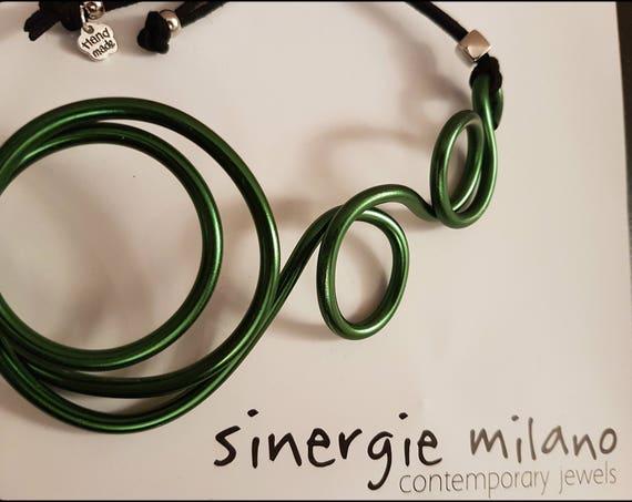 VERDE BOSCO aluminum thread necklace, original, contemporary, nonconformist. Modern jewelry - Summer, vacation. Gift idea