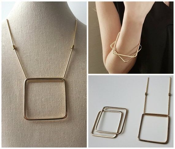 Set formed by Necklace and geometric bracelets. Golden set, minimal jewelry, minimalist. Matching jewelry. Necklace set is bracelet