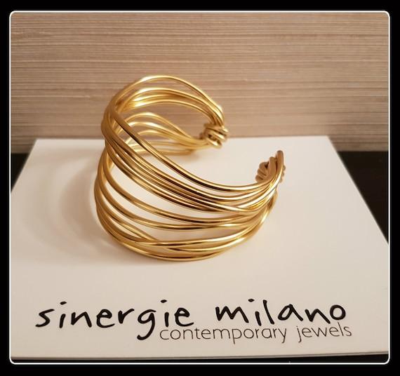 Light gold aluminum bracelet, band bracelet, stiff bracelet, gold jewelry, fashion, mom gift, girlfriend, teacher