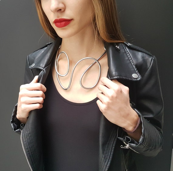 """Great Contemporary Necklace, """"ART TO WEAR"""", sculpture, abstract necklace, inauguration, worldly evening, artistic necklace, Pezzo Unico"""