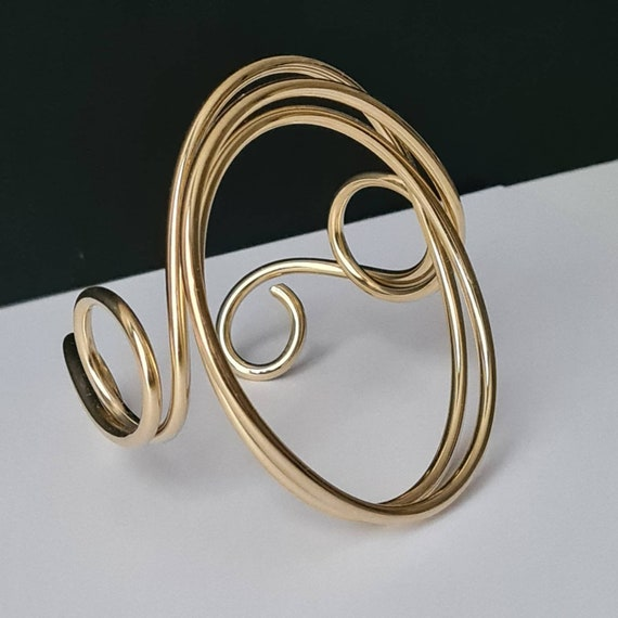 Large band bracelet with circle. Hand-molded in Brass, light gold plated. Contemporary, modern, sculptural Unique piece!