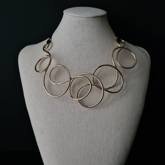 Maxi gold necklace. Fashion night. Sculpture necklace. Art series. Modern bride. marriage. Online meeting. SYNERGIES MILAN