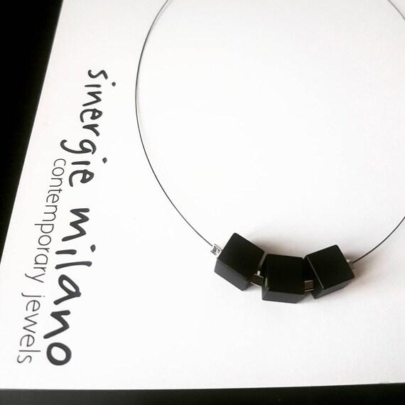 Geometric, minimal neckline - Cube3 - black collar, elegant and original collar. Best friend gift idea, girlfriend, teacher.