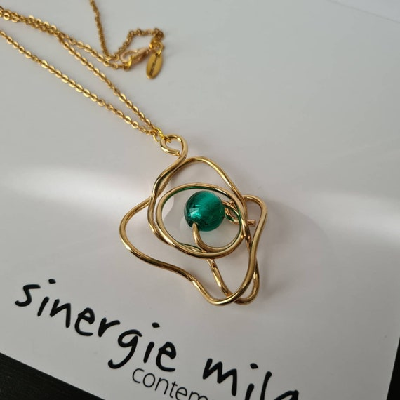 Sculpture necklace, artistic pendant, beautiful green pearl in Venetian glass. Art to wear. Sculptural, Modern and Contemporary.