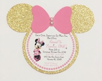 Minnie Mouse Birthday Invitation Etsy