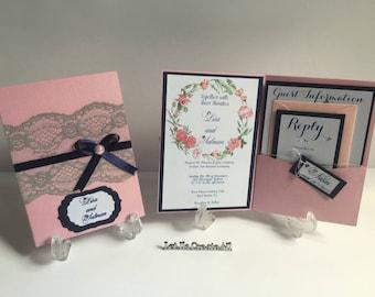 Wedding Invitations-Lace Wedding Invitations- Handmade Wedding Invitations