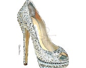 Watercolor Shoe Print - Sparkly High Heel