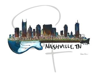Watercolor Print - Nashville Skyline