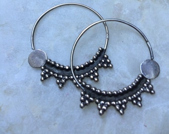 Silver bedouin hoop earrings - nosering - shnaf - Egypt