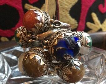 Yemeni-style silver & stone ring - Handmade in Cairo