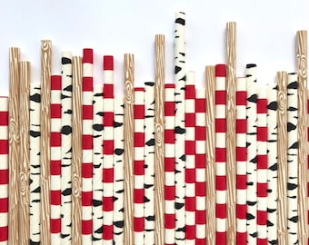 12 ct Lumberjack Paper Straws - First Birthday - Buffalo Plaid Party Decor - Woodland Theme - Rustic Wedding - Camping Kids Birthday